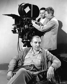 Fritz Lang and cinematographer Milton Krasner on the set of Scarlet Street, 1945