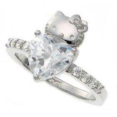 hello kitty heart swarovski ring<3