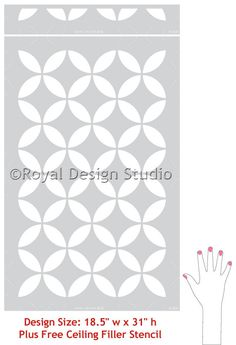 Paint modern circle patterns and add Moroccan design to stenciled wallpaper, stencil a backsplash in your kitchen, or use this geometric pattern as floor stencils. The Endless Moorish Circles Moroccan Moroccan Stencil, Moroccan Design, Floor Patterns, Wall Patterns, Small Scale Furniture, Wallpaper Stencil, Large Stencils, Tile Stencils, Stenciled Floor