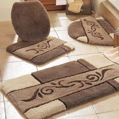Peach Bathroom Rug Com Rug Set Bathroom Accessories Pinterest - Toilet bath rug for bathroom decorating ideas