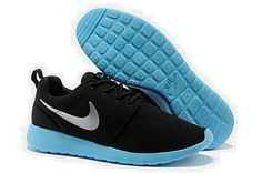 Authentic Nike Shoes For Sale, Buy Womens Nike Running Shoes 2014 Big Discount Off Nike Roshe Run Womens Black Silver Blue Mesh Shoes [ -