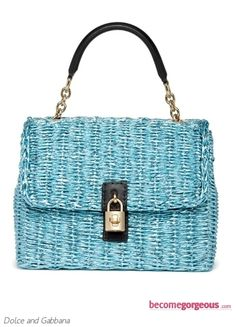 Dolce and Gabbana Medium Blue Straw Bag