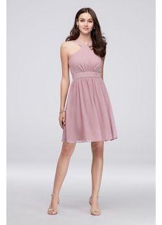 Y-Neck Pleated Chiffon Short Bridesmaid Dress W60003