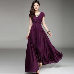Classic V-Neck Slim Fit Wide Bottom Short Sleeve Chiffon Dress