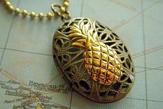 Pineapple Locket Necklace Vintage Inspired Filigree Oval Gothic Victorian Rustic Brass & Gold Mixed Metals Steampunk Style Tiki Jewelry
