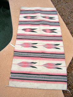 Mexican Woven Wool Blanket Rug Pink Blue White by retrosideshow