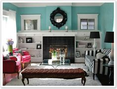 A colorful living room.