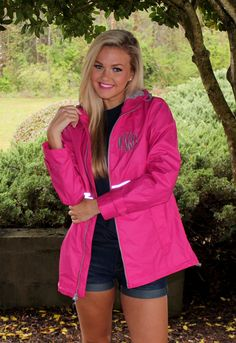 You'll be wishing for rain so you can wear this cute rain jacket from Marleylilly.com! Our Monogrammed New England Rain Jacket is 100% wind and waterproof. #rainjacket #monogram #ootd