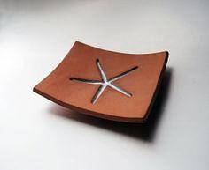 Starfish Brown & White Ceramic Soap Dish by LaurenSumnerPottery,