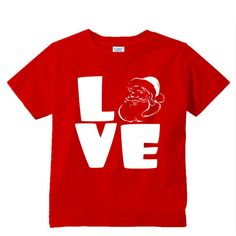 Love Santa Red shirt by shirtsbynany on Etsy Funny Kids Shirts, Go For It, Love My Kids, Santa Baby, Red Shirt, Long Sleeve Bodysuit, Baby Bodysuit, Workout Shirts, Super Cute
