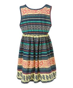 Look what I found on #zulily! Yellow & Teal Geometric Dress - Toddler & Girls by Richie House #zulilyfinds