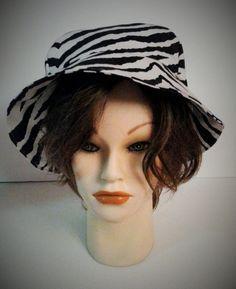 Women's Summer Sun Hat Black & White Zebra Print in 100% Cotton Fabric