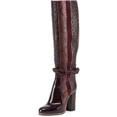 Python Ostrich-Embossed Striped Knee Boot (3,285 CAD) ❤ liked on Polyvore featuring shoes, boots, python boots, snake print boots, knee high boots, knee boots and lanvin