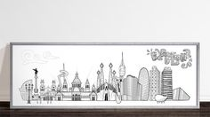 Barcelona skyline with some of the most famous monuments, black and white option - 150 x 50 cm