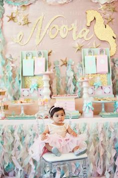 Mermaid Birthday Party Setup via Kara's Party Ideas | karaspartyideas.com