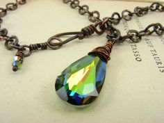 Swarovski Teardrop Crystal Vitrail Medium Wire Wrapped Green, Yellow, Blue, Purple, Red and Pink Copper Necklace