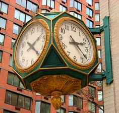 A four-sided bank clock at First Avenue and East 79th Street.  Rent-Direct.com - Apts for Rent in NYC with No Broker Fee.