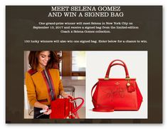 Meet Selena Gomez and Win a Signed Coach Purse (151 winners) – Ends August 22nd #sweepstakes https://www.goldengoosegiveaways.com/meet-selena-gomez-win-signed-coach-purse-151-winners-ends-august-22nd?utm_content=buffer1327e&utm_medium=social&utm_source=pinterest.com&utm_campaign=buffer