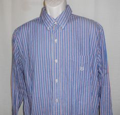 CHAPS RALPH LAUREN Casual Shirt Men Sz XL Button Up Cotton Long Sleeve Blue Red…