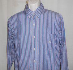 CHAPS RALPH LAUREN Casual Shirt Men Sz XL Button Up Cotton Long Sleeve Blue Red…