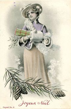 Original French vintage illustration postcard - Lady with presents in snow - Victorian Paper Ephemera
