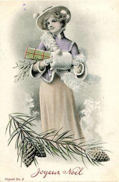 Original French vintage illustration postcard - Lady with presents in snow - Victorian Paper Ephemera