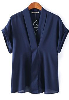 Navy V-neck Batwing Sleeve Embroidered Back Blouse - Sheinside.com