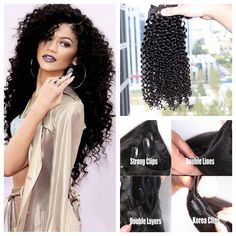 7A Unprocessed Mongolian Virgin Hair Kinky Curly Clip In Human Hair Extensions 70g-120g/set 8pcs/set no shedding Best Quality