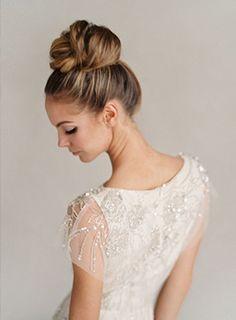 high bun wedding hair