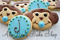 Monkey or monogram cookies    http://www.modern-baby-shower-ideas.com/Monkey-boy-baby-shower.html