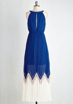 Bryant Park Brilliance Dress in Cobalt. While strolling through the city, you encounter an outdoor orchestral performance as captivating as your colorblocked maxi! #blue #modcloth