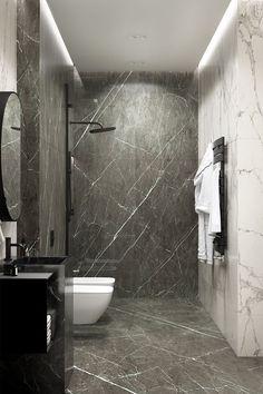 Marble Bathroom 30 inspiring bathroom design ideas made of black marble with a stylish accent, Bathroom Shower Faucets, Mold In Bathroom, Stone Bathroom, Simple Bathroom, Modern Bathroom Design, Bathroom Interior Design, Home Interior, Master Bathroom, Bathroom Ideas