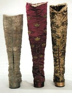 18th century boots, view of lacing in the back. Coronation boots of Adolf Fredrik (1751), Gustav III (1772) and Gustav IV Adolf (1800).