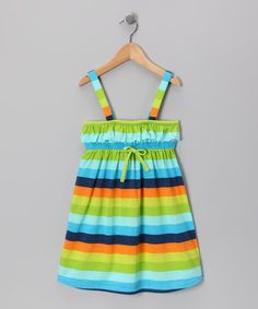 Take a look at this Blue & Green Stripe Dress - Toddler & Girls by S.W.A.K. on #zulily today!