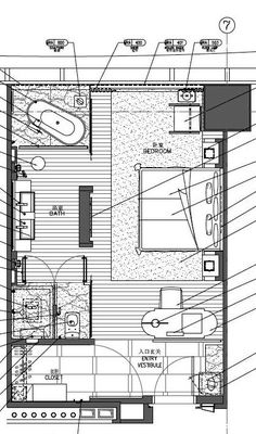 InterContinental Zhuhai Hotel Floor Plan, House Floor Plans, Zhuhai, Hotel Room Design, Apartment Plans, Hotel Interiors, Room Planning, Bedroom Layouts, Shop Front Design