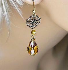 Crystal Dangle Earrings Light Topaz Swarovski by PixieDustFineries
