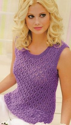 Top - fancy tank with all-over pattern, lovely Вязание жилета спицами