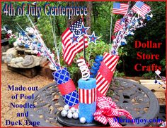 Miriam Joy shows you a fast and easy way to use pool noodles and duck tape to make a 4th of July Centerpiece.