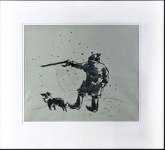 Farmer and sheepdog in a snowstorm by Sir Kyffin Williams