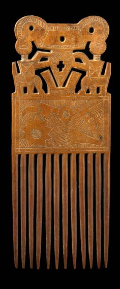 Africa | Comb from the Akan people of Ghana | ca. early to mid 1960s | Wood