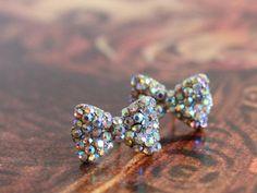 Silver Miniature Bow Earrings