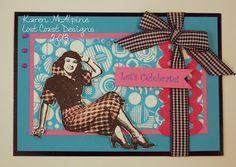 Sassy 50's color scheme with Lost Coast Design Stamps --card by Karen McAlpine