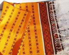 Wool Table Runner, Orange Vintage Scandinavian, Little Striped Handwoven  Textile, Woolen Ethnic Navajo Rug, In