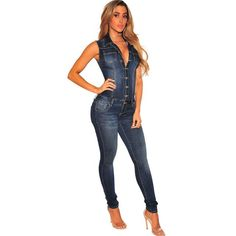 582011acb59 Wjustforu Summer Patchwork Denim Jumpsuit Sexy Bodycon Sleeveless Full Body  Feminino Elegant Button Rompers Womens Jumpsuits