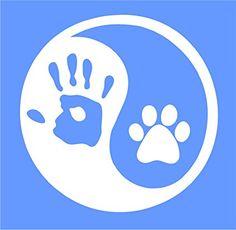 "Ying Yang 4"" Human Hand Dog Paw Car Window Vinyl Decal Sticker"
