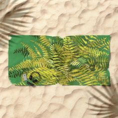 Golden Fern, floral art, green and yellow Beach Towel by Clipso-Callipso | Society6