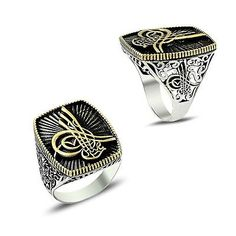 925 STERLING SILVER RING FOR MEN WITH OTTOMAN SULTAN'S SIGNET