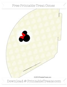 Free Beige Heart Pattern  Minnie Mouse Treat Cone