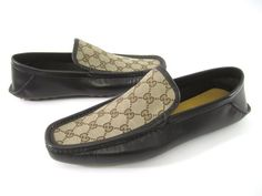 NIB AUTH GUCCI Men's Brown Leather Tan Monogram Canvas Slip On Loafers Sz 11 at www.ShopLindasStuff.com