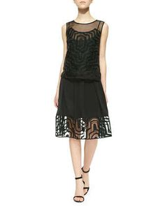 Fil Coupe Overlay Layered Dress  by Milly at Neiman Marcus.
